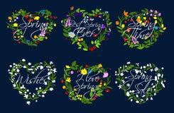 Grinalda dos corações do vetor das flores pelo tempo da mola ilustração do vetor