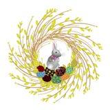 Grinalda dos ramos novos do salgueiro A composi??o ? decorada com ovos da p?scoa bonitos Est? para dentro um coelho S?mbolo da mo ilustração do vetor
