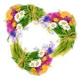 Grinalda dos wildflowers watercolor Fotos de Stock Royalty Free