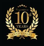 Grinalda dourada do louro do aniversário 10 anos Imagem de Stock Royalty Free