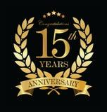 Grinalda dourada do louro do aniversário 15 anos Imagens de Stock