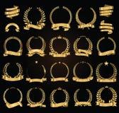A grinalda dourada do louro com fitas douradas vector a coleção da ilustração Foto de Stock