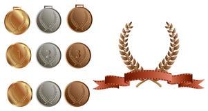 Grinalda e medalhas do louro Fotografia de Stock