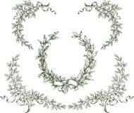 Grinalda e ramos do louro imagens de stock
