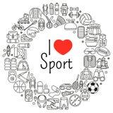 Grinalda feita da linha ícones Equipamento do esporte, da aptidão e da recreação Exterior, turismo e caminhada, transportar e kay Fotos de Stock Royalty Free
