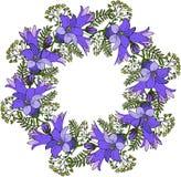 Grinalda floral com flores azuis ilustração royalty free