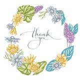 Grinalda floral do celandine pastel, camomila, pastilha de hortelã ilustração do vetor