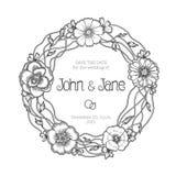 Grinalda floral do vintage Convite do casamento ilustração stock