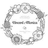 Grinalda floral do vintage Convite do casamento ilustração royalty free