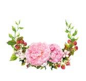 Grinalda floral - flores cor-de-rosa da peônia Salvar o cartão de data para o casamento watercolor imagem de stock