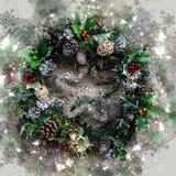 Grinalda inglesa do Natal, aquarela com enfeites sazonais, flocos de neve, sparkles etc. imagens de stock
