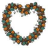 Grinalda na forma do coração com folhas de outono ilustração do vetor