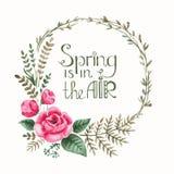 Grinalda oval floral simples e bonito Fotos de Stock