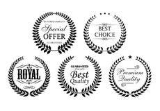 A grinalda preta do louro etiqueta o grupo do ícone Fotografia de Stock Royalty Free