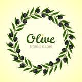 Grinalda preta dos ramos de oliveira Foto de Stock