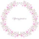 Grinalda (quadro) da magnólia cor-de-rosa Imagens de Stock Royalty Free