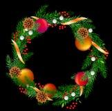Grinalda realística do Natal do vetor com cones Imagem de Stock Royalty Free