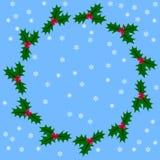 Grinalda redonda do Natal, azevinho ilustração royalty free