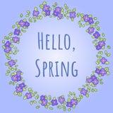 Grinalda redonda do vetor com amor perfeito ou flores e folhas da viola Olá! typescrypt da mola Cartão e convite do projeto para ilustração stock