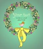 Grinalda tirada mão das flores Imagem de Stock