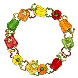 Grinalda vermelha, alaranjada, amarela, verde de Bell Peper Metade da paprika e de anéis doces de cortes da pimenta Vegetais crus Imagens de Stock Royalty Free
