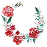 Grinalda vermelha das flores Ilustração da aguarela ilustração stock
