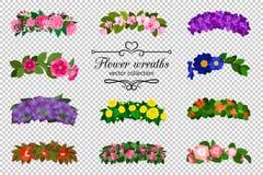 Grinaldas da flor ajustadas ilustração do vetor