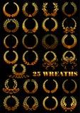 Grinaldas douradas heráldicas com flores e fitas Imagens de Stock Royalty Free