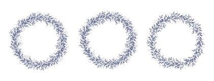 Grinaldas florais tiradas mão do vetor Obscuridade delicada - festões azuis da forma redonda ilustração royalty free