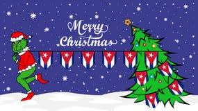 Grinch窃取古巴例证国旗  在圣诞节海报的绿色残暴的人 向量例证