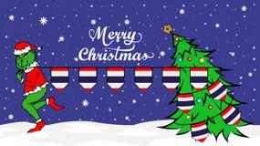 Grinch roba la bandera nacional del ejemplo de Tailandia Ogro verde en cartel de la Navidad ilustración del vector