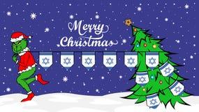 Grinch rouba a bandeira nacional da ilustração de Israel Ogre verde no cartaz do Natal ilustração royalty free