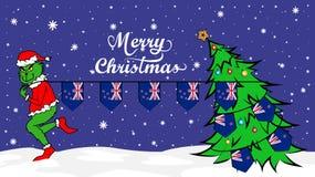 Grinch rouba a bandeira nacional da ilustração de Nova Zelândia Ogre verde no cartaz do Natal ilustração do vetor