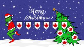 Grinch steals national flag of Canada illustration. Green Ogre in Christmas poster royalty free illustration