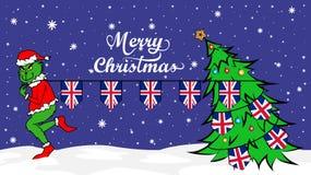 Grinch steals national flag of UK illustration. Green Ogre in Christmas poster vector illustration