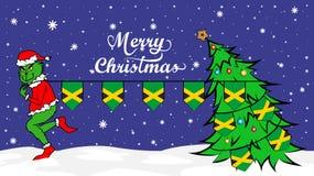 Grinch stiehlt Staatsflagge von Jamaika-Illustration Grünes Ungeheuer im Weihnachtsplakat lizenzfreie abbildung
