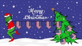Grinch vole le drapeau national de l'illustration des Etats-Unis Ogre vert en affiche de Noël illustration stock