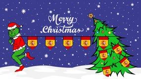 Grinch vole le drapeau national de l'illustration de l'Espagne Ogre vert en affiche de Noël illustration stock