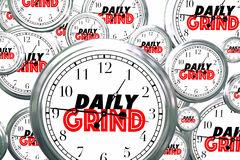 Daily Grind Clocks Flying Wasting Time Routine Ritual 3d Illustr. Ation Royalty Free Stock Photos