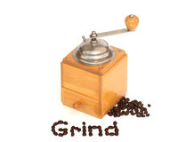 Grind word & coffee beans with grinder on white Royalty Free Stock Image