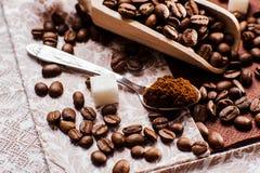 grinded的咖啡 匙子地面coffe 免版税库存照片
