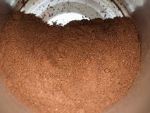 Grinded coffee can. Grinded coffee powder in a tin can Royalty Free Stock Photos