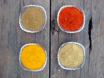 Grinded spices in the crystal bowl. Indian grinded spices in the crystal bowl Stock Photography