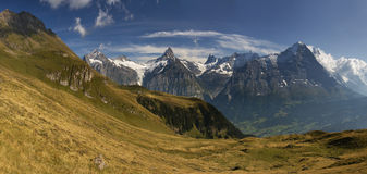 Grindelwald in Bern canton Switzerland. This is a hiking trail near Grindelwald in the Canton of Bern in Switzerland stock photos