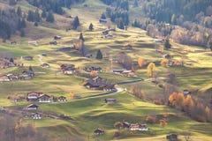 Grindelwald die Schweiz in der Sonnenuntergangzeit stockbild