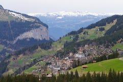 Grindelwald-Dorf in Berner Oberland, die Schweiz Stockbilder