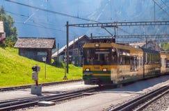 Grindelwald Grund railway station is located in the Bernese Oberland region of Switzerland. Switzerland July 2018 royalty free stock image
