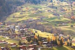 Grindelwald Svizzera nel tempo di tramonto Fotografia Stock Libera da Diritti