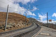 Railway track, Gornergrat Bahn train from Zermatt towards. Grindelwald, Switzerland - Oct 15, 2018: Railway track, from Zermatt towards Gornergrat station Famous stock photos