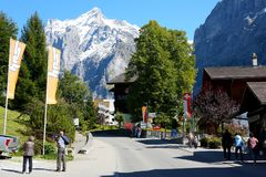 View of the street in the alpine resort royalty free stock photos